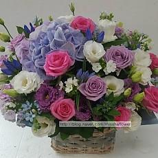 꽃바구니-핑크&바이올렛 로즈(고급)